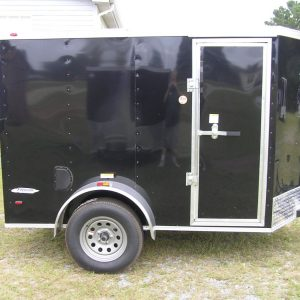 5x8 SA Trailer - Black, Ramp, Side Door, Additional Height, E-Track