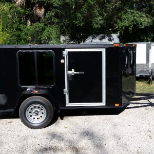 6x10 SA Trailer - Black, Double Doors, Side Door, Reduced Height, Windows, Semi-Blackout