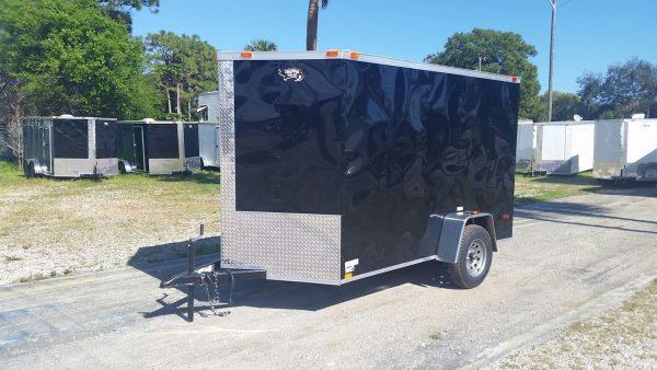 6x10 SA Trailer - Black, Ramp, Side Door, Extra Height