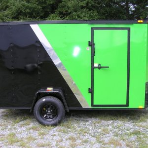 6x12 SA Trailer - Brite Green and Black, Ramp, Side Door, Extra Height, Blackout Package, Radials, E-Track, D-Rings