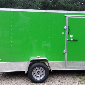 6x12 SA Trailer - Bright Green, Ramp, Side Door, Extra Height, ATP Wrap