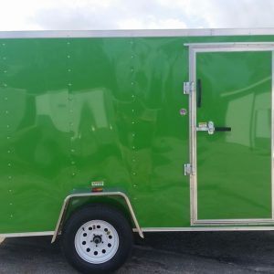 6x12 SA Trailer - Bright Green, Ramp, Side Door, Extra Height