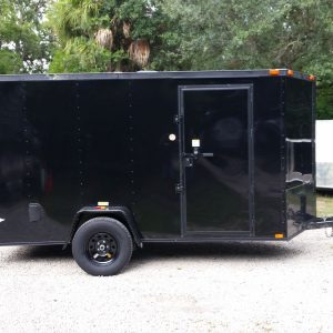 6x12 SA Trailer - Black, Ramp, Side Door, Extra Height, Blackout Package