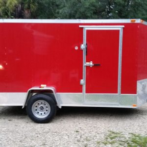 6x12 SA Trailer - Red, Ramp, Side Door, Extra Height, ATP Wrap
