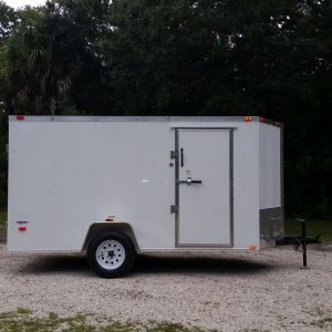 6x12 SA Trailer - White, Double Doors, Side Door, Extra Height