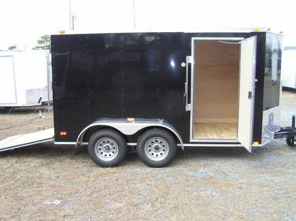 6x12 TA Trailer - Black, Ramp, Side Door, Extra Height
