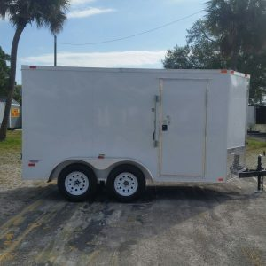 6x12 TA Trailer - White, Double Barn Doors, Side Door, Extra Height
