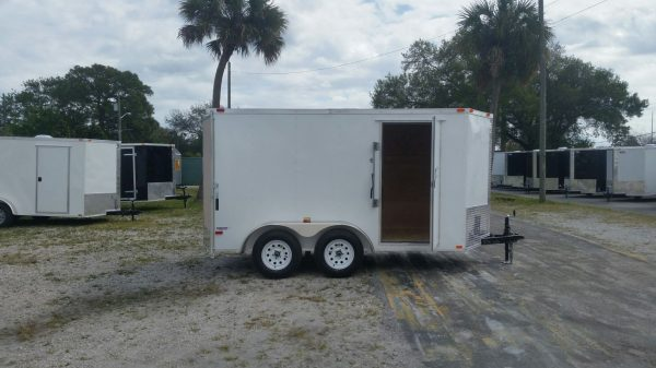 6x12 TA Trailer - White, Double Barn Doors, Side Door, Extra Height