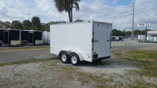 6x12 TA Trailer - White, Ramp, Side Door, Extra Height