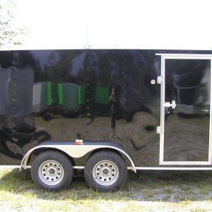 6x14 TA Trailer - Black, Ramp, Side Door, Extra Height, Ladder Racks, Pressure Treated Floor