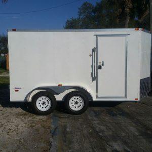 7x12 TA Trailer - White, Double Doors, Side Door, Extra Height