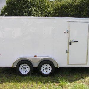 7x14 TA Trailer - White, Double Doors, Side Door, Extra Height