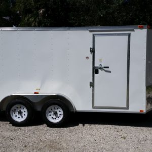 7x14 TA Trailer - White, Ramp, Side Door, Extra Height