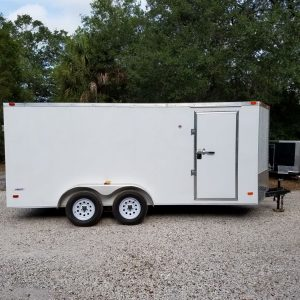 7x16 TA Trailer - White, Double Doors, Side Door, Extra Height