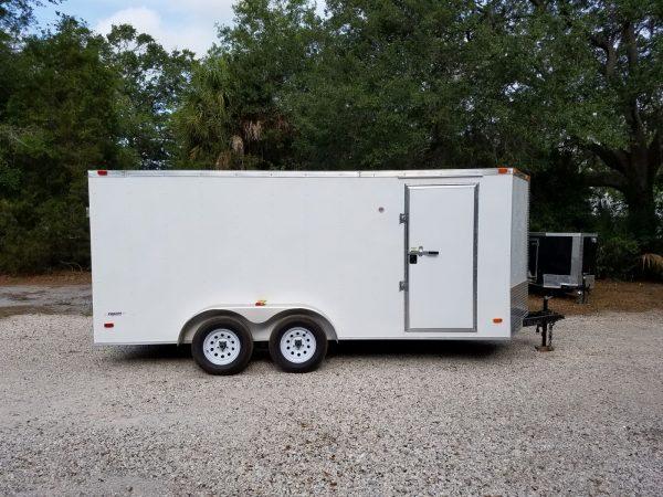 7x16 TA Trailer - White, Double Doors, Side Door, Extra Height