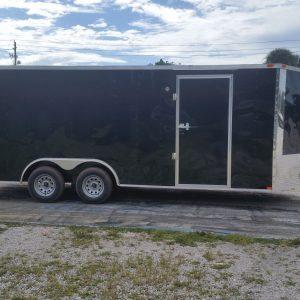 8.5x20 TA Trailer - Black, Double Barn Doors, Side Door, D-Rings