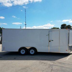 8.5x20 TA Trailer - White, Ramp, Side Door, 5K Axles, D-Rings