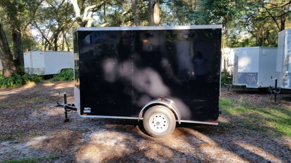 5x10 SA Trailer - Black, Ramp, Side Door, Side Vents, Extra Height