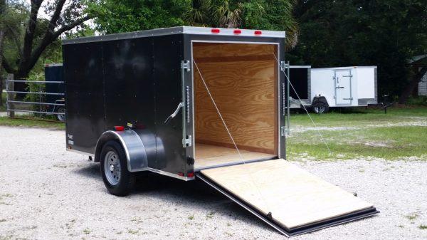 5x10 SA Trailer - Charcoal Grey, Ramp, Side Door, Roof Vent