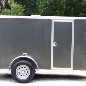 5x10 SA Trailer - Charcoal Grey, Ramp, Side Door, Roof Vent