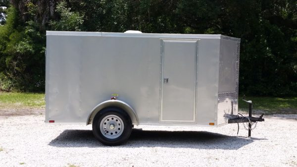 5x10 SA Trailer - Silver Frost, Ramp, Side Door, Roof Vent