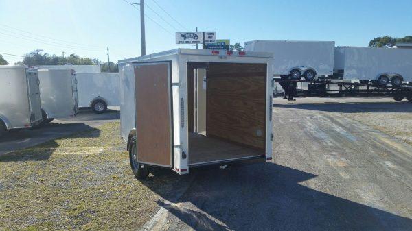 5x10 SA Trailer - White, Double Doors, Side Door, Side Vents