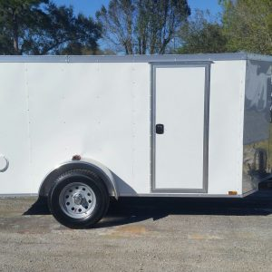 5x10 SA Trailer - White, Double Doors, Side Door, Side Vents