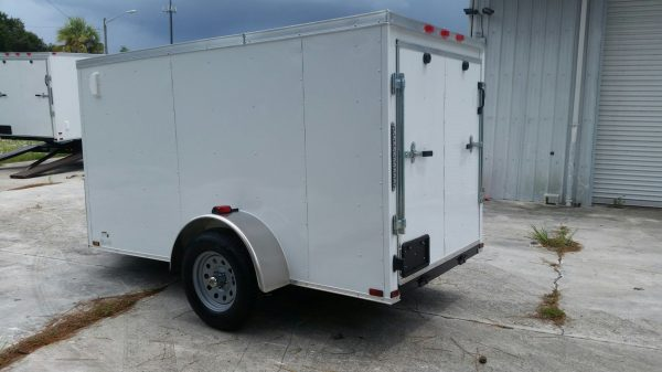 5x10 SA Trailer - White, Ramp, Side Door, Side Vents