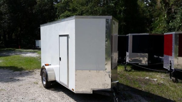 5x10 SA Trailer - White, Ramp, Side Door, Side Vents, Extra Height