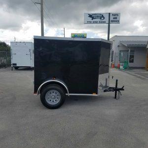 5x6 SA Trailer - Black, Barn Door, Side Vents