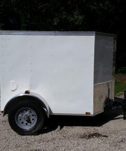 5x6 SA Trailer - White, Barn Door, Side Vents