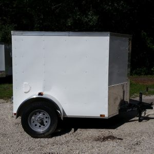 5x6 SA Trailer - White, Barn Door, Side Vents