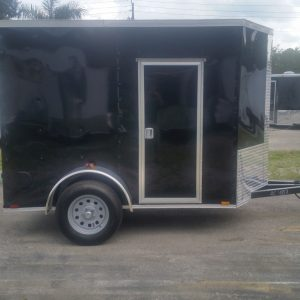 5x8 SA Trailer - Black, Double Doors, Side Door, Side Vents, Extended Tongue, Extra Height, Spare Mount