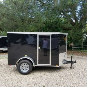 5x8 SA Trailer - Black, Barn Doors, Side Door, Side Vents