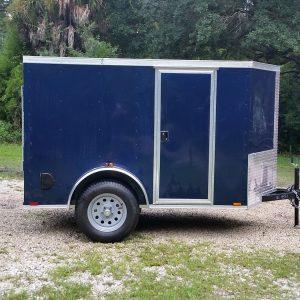 5x8 SA Trailer - Blue, Ramp, Side Door, Side Vents