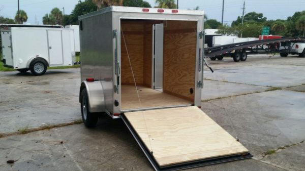 5x8 SA Trailer - Champagne, Ramp, Side Door, Side Vents