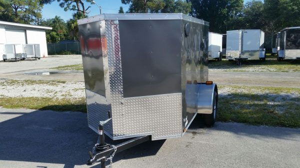 5x8 SA Trailer - Charcoal Gray, Ramp, Side Door, Side Vents