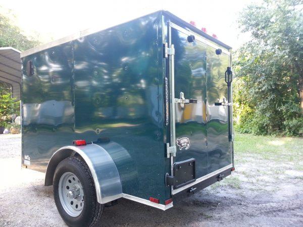 5x8 SA Trailer - Green, Ramp, Side Door, Side Vents