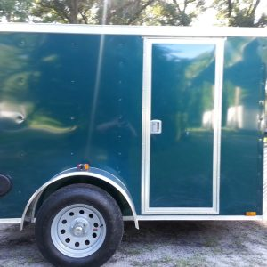 5x8 SA Trailer - Green, Ramp, Side Door, Side Vents