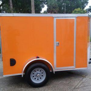 5x8 SA Trailer - Orange, Ramp, Side Door, Side Vents