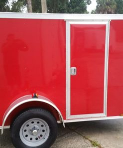 5x8 SA Trailer - Red, Ramp, Side Door, Side Vents