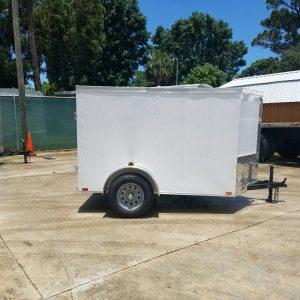 5x8 SA Trailer - White, Double Barn Doors