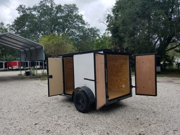 5x8 SA Trailer - White, Barn Doors, Blackout Package, Two Side Doors, Side Vents