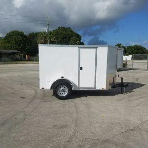 5x8 SA Trailer - White, Barn Doors, Side Door, Side Vents