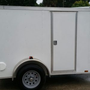 5x8 SA Trailer - White, Ramp, Side Door, Side Vents