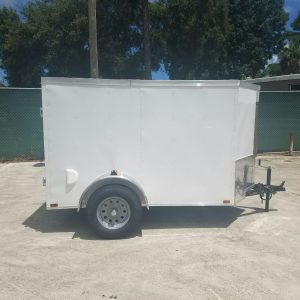 5x8 SA Trailer - White, Single Barn Door, Side Vents