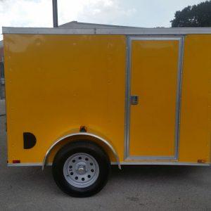 5x8 SA Trailer - Yellow, Ramp, Side Door, Side Vents