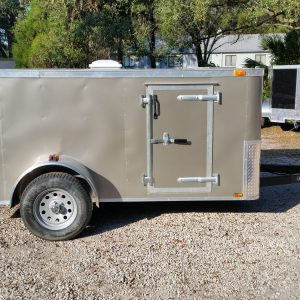 Custom 6x10 SA Trailer - Pewter, Double Barn Doors, 2xSide Doors, Reduced Height