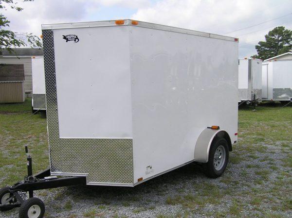 6x10 SA Trailer - White, Barn Doors, Side Door, Extra Height, Brakes, Radial Upgrade