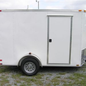 6x10 SA Trailer - White, Barn Doors, Side Door, Extra Height, Brakes, Radial Upgrade